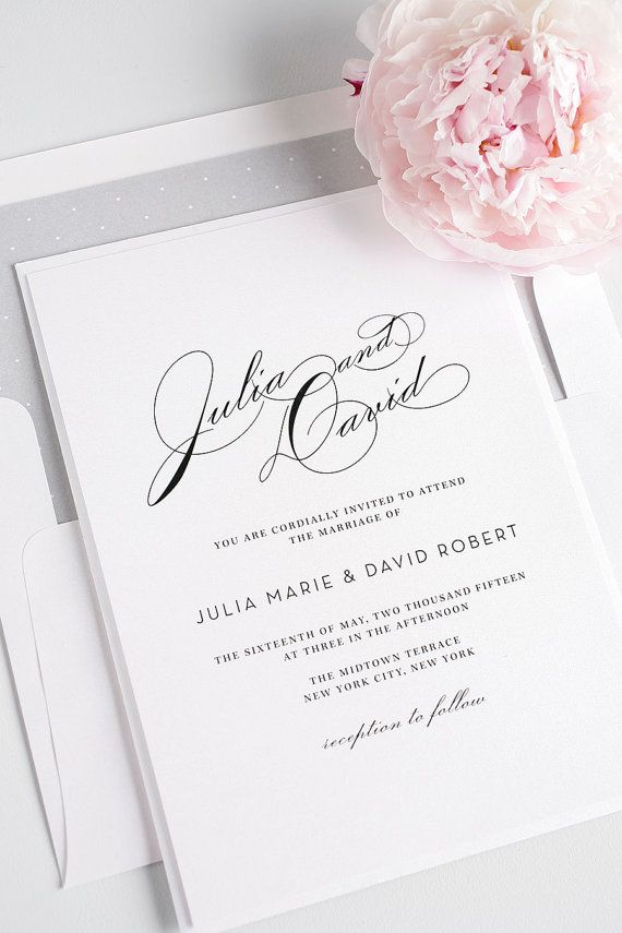 Vintage Typography Wedding Invitation  Elegant by ShineInvitations