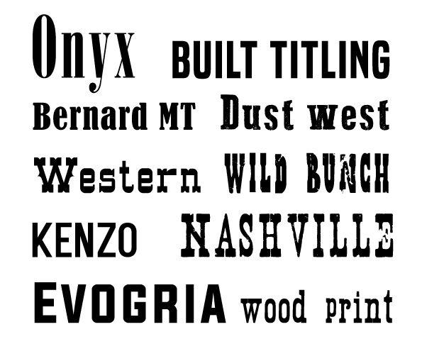 10 Lettertypen die passen bij het thema 'Western films'.