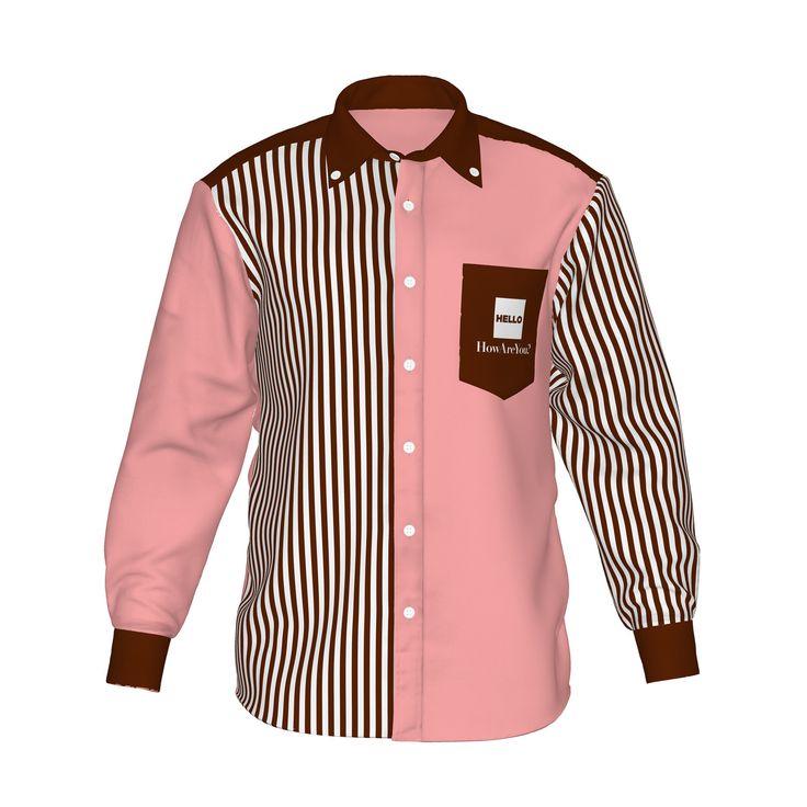 ●スウィートな雰囲気のピンクと白茶ストライプ。●カラーの存在感が際立つ、ストライプ柄と組み合わせたアシンメトリーデザイン。●メンズ・レディース問わず着用していただけるデザイン。■「Hello」は『制服でも、ユニフォームでも、タウンファッションでも。演出シーンはあなた次第。』がコンセプト。■襟・袖・ポケットにアクセントカラーを使用した「HELLO」の「Accent」シリーズ。/HELLO Accent03 PNK - 桃×茶ストライプ - HELLO