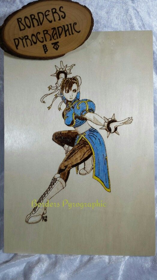#pyrography #ChunLi #Streetfighter. Burned by Tracey Glover