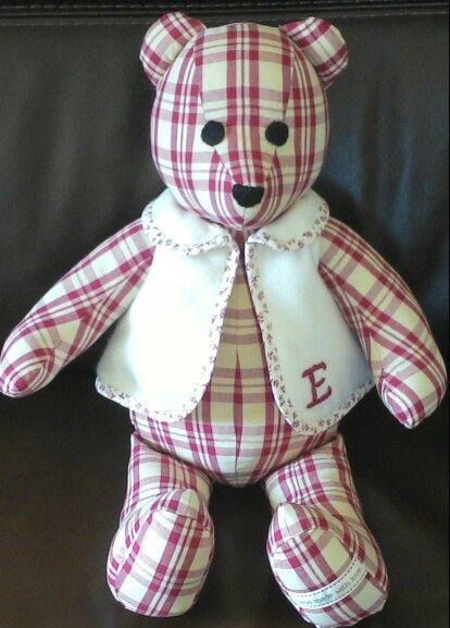 A teddy bear made for my great niece Erin. Made by Sarah Boyd.