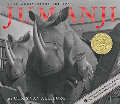 Jumanji, by Chris Van Allsburg -  The game under the tree looked like a hundred others Peters and Judy had at home. But they were bored and restless and, looking for something interesting to do, thought they'd give Jumanji a try. Little did they know when they unfolded its ordinary-looking playing board that they were about to be plunged into the most exciting and bizarre adventure of their lives.
