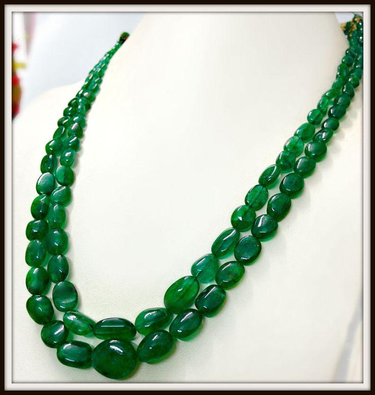 Natural Zambian Deep Green Emerald 18k Gold Diamond Necklace Earrings estate  #Samjewel #necklaceandearrings