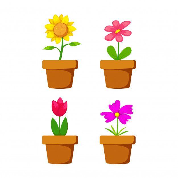 Conjunto De Flores En Maceta De Dibujos Free Vector Freepik Freevector Flor Floral Icono Verano Flores En Maceta Dibujo De Rosa Flores