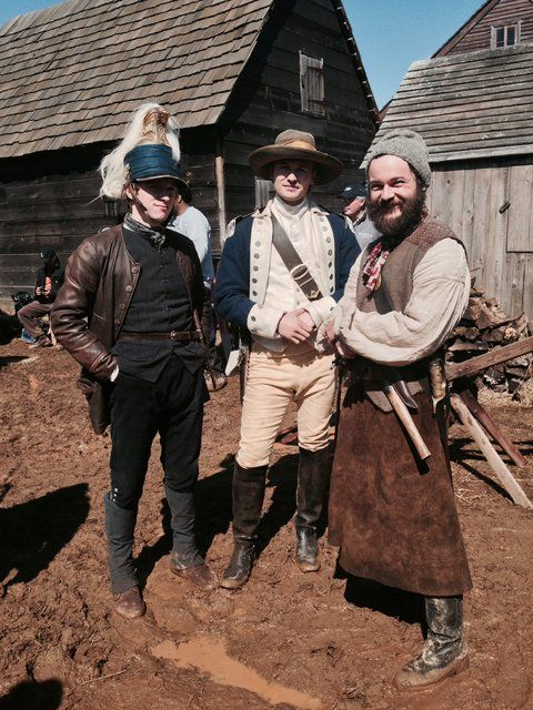 """From left, the actors Jamie Bell, Seth Numrich and Daniel Henshall on the set of """"Turn."""""""