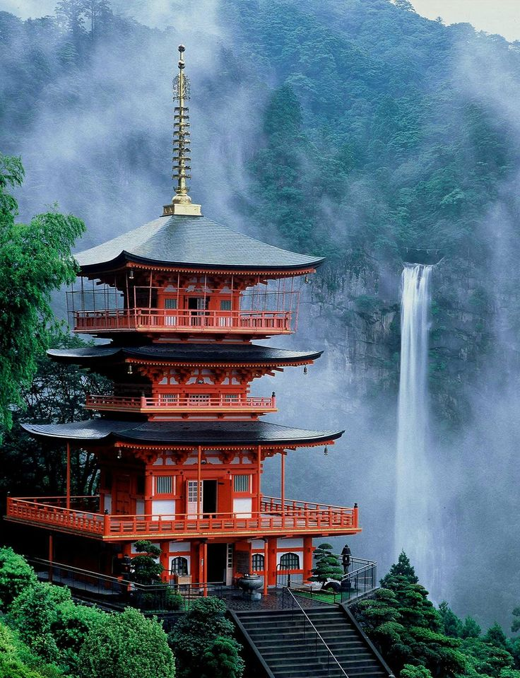"""Nachi Falls in Nachikatuura, Wakayama Prefecture, Japan, is one of the best-known waterfalls in Japan. With a drop of 133 m, it is often erroneously thought to be the country's tallest. In fact, the tallest waterfall in Japan is the Hannoki Falls, at 497 m. Believed to house a kami called Hiryū Gongen worshiped at Kumano Nachi Taisha, it is part of the """"Sacred Sites and Pilgrimage Routes in the Kii Mountain Range"""" UNESCO World Heritage Site."""