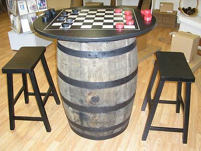Oak Whiskey Barrel Table C Checker Chess Board 2 Saddle