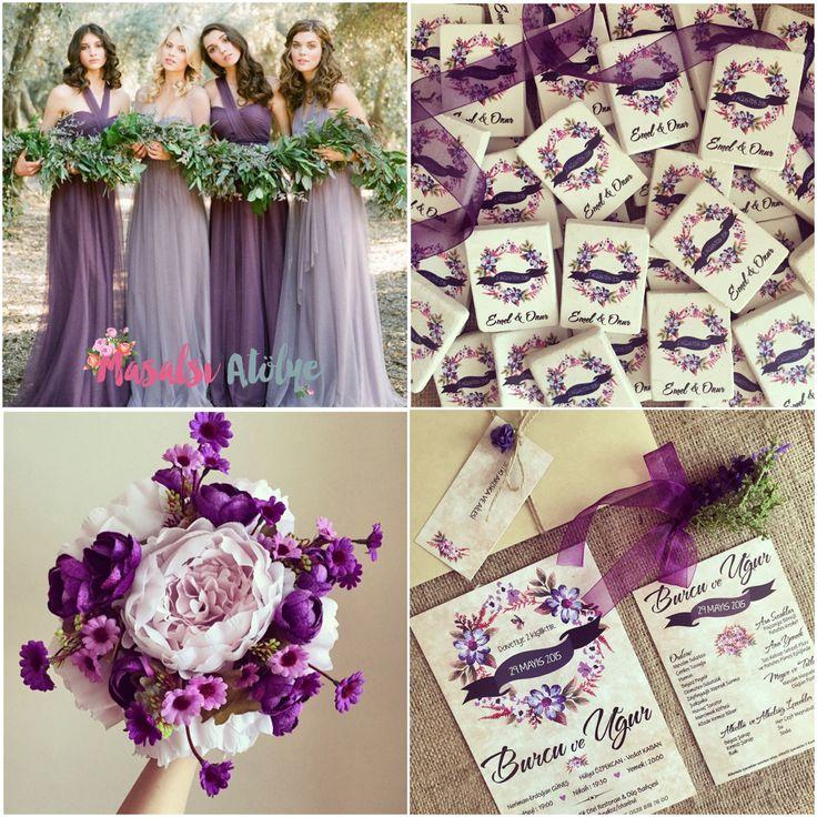 Mor düğün teması / purple wedding theme www.masalsiatolye.com #masalsiatolye #dugunteması #weddingtheme
