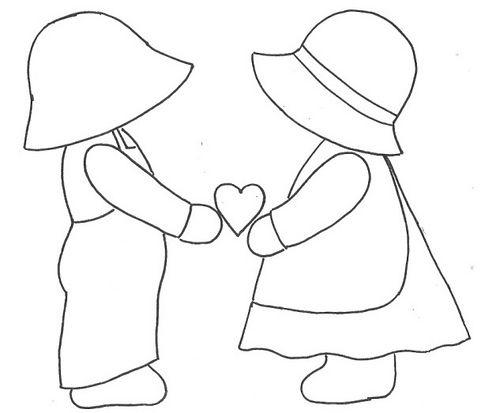 Desenhos e Riscos-colorir-colorear-desenhos-dibujos-coloring-pages: Sunbonnet Sue