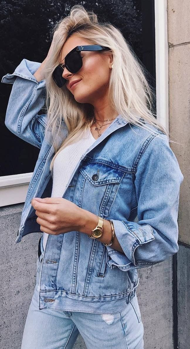 double denim outfit_jacket + rips + white top