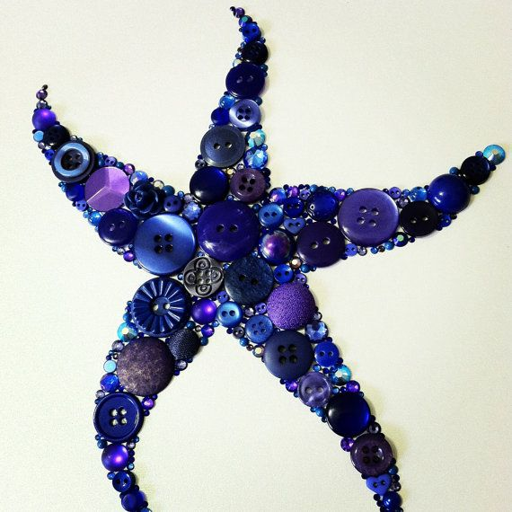 Button Starfish Button Art / A great idea for the bathroom at the cabin