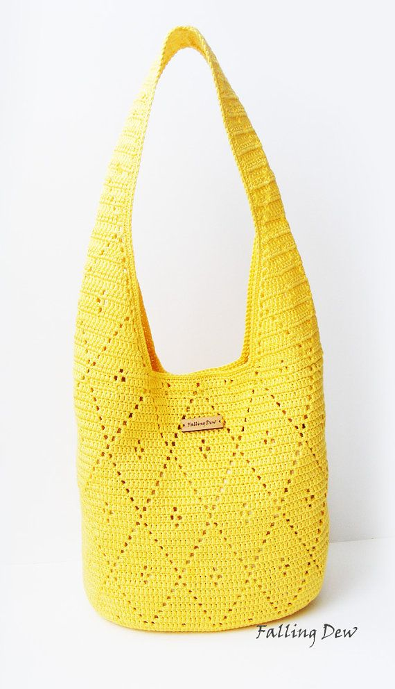 Crochet handbag Bag & Purses Handbags Shoulder Bag Yellow Colour Spring/Summer Crochet Handbag Handmade by FallingDew