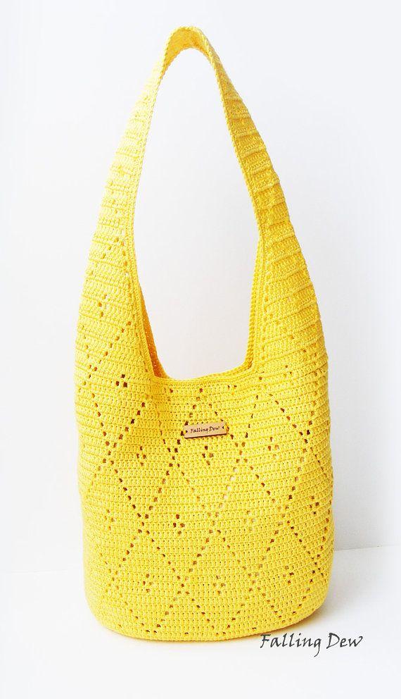 Crochet handbag Bag & Purses Handbags Shoulder Bag Yellow Colour Spring/Summer Crochet Handbag Handmade by FallingDew