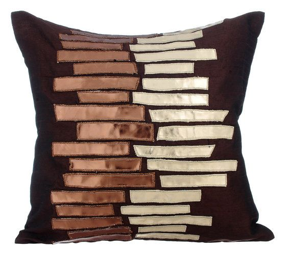 Metallic Ladder - 16x16 Inches faux metallic leather in copper & dull gold appliqued brown silk throw pillow.