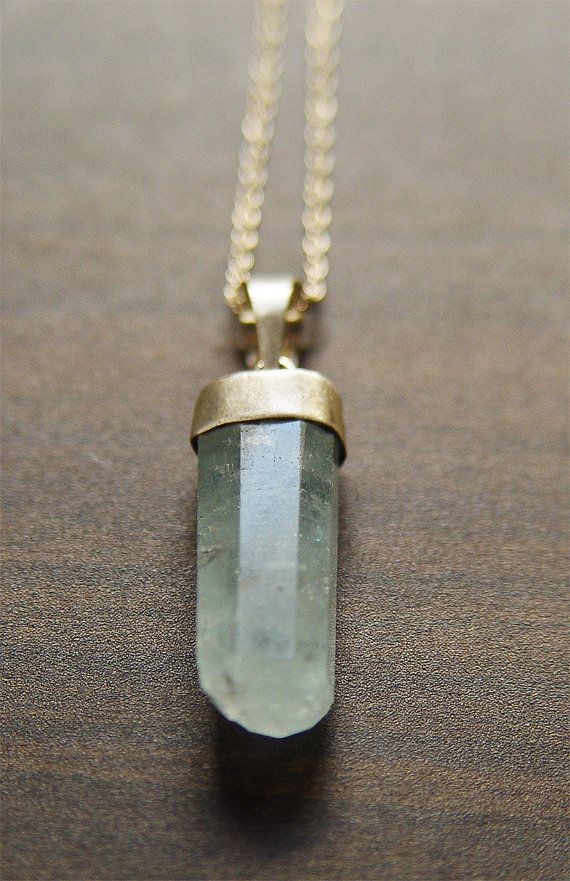 Aquamarine Point Silver Necklace  OOAK by friedasophie on Etsy, $69.00