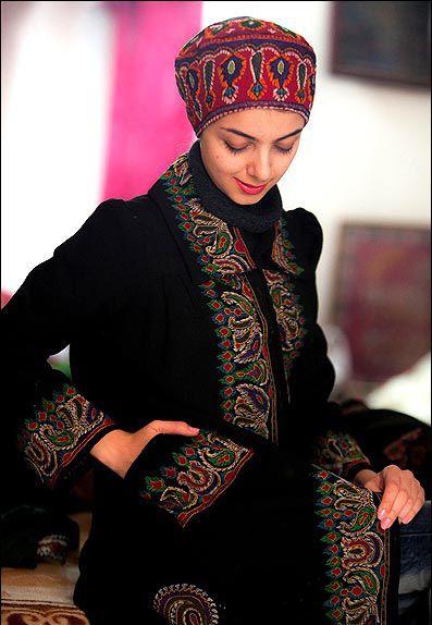 Iran, Pateh embroidery handicrafts Kerman