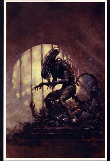 ARTHUR SUYDAM, ALIEN  print, Bars, Sewer, Aliens, Terror,  Horror, 11 x17 , 2004 Comic Art