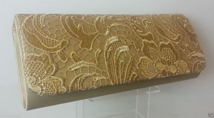Gold Beautiful Elegant Satin LACE Evening Clutch Bag
