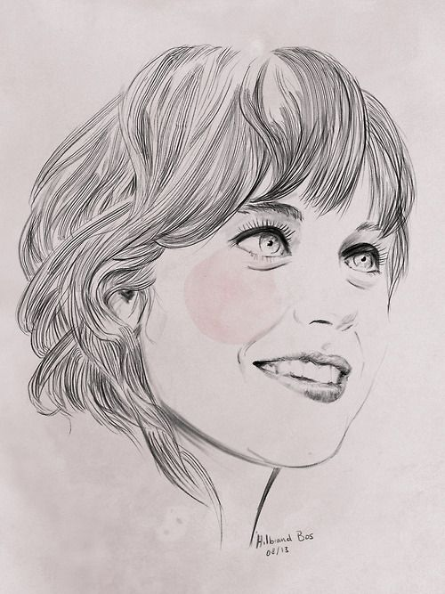 Zooey Deschanel portrait - Watercolor and pencil on watercolor paper, all mimicked in Photoshop. -  Hilbrand Bos