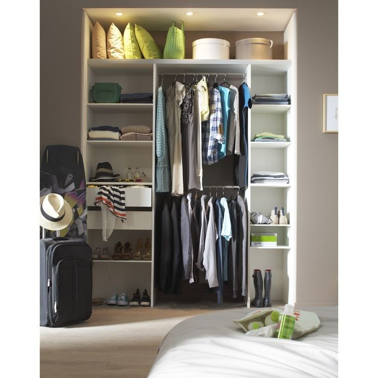 kit dressing double colonne avec penderie et tiroirs modul 39 pack 197x249x40 2 cm leroy merlin. Black Bedroom Furniture Sets. Home Design Ideas