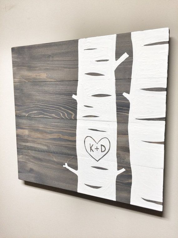 This Rustic Birch Tree with initials is a unique piece for your home or office! Makes a great custom gift! Hand painted white Birch trees with