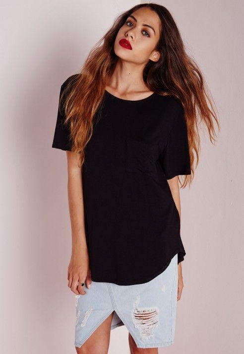 MISSGUIDED - T-shirt basique noir avec poche 14,00 €