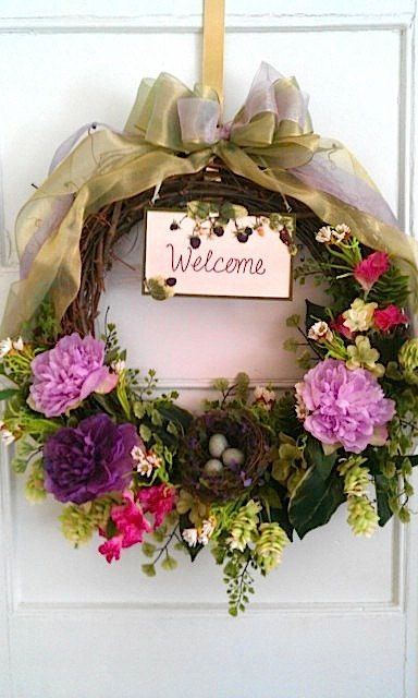 Hey, I found this really awesome Etsy listing at https://www.etsy.com/listing/96474675/welcome-wreath-spring-summer-wreath