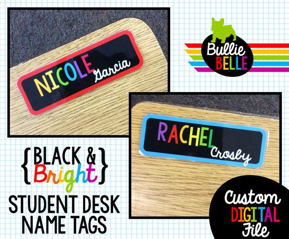 Black & Bright Student Desk Name Tags - Student Nameplates - Student Name Tags - Classroom Decor - Classroom Organization -…