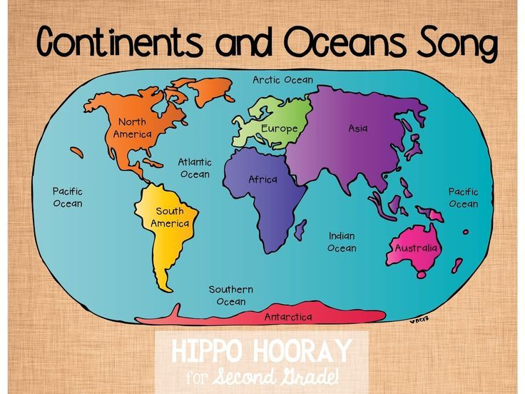 Hippo Hooray for Second Grade: Continents and Oceans Song.  Really cute short song to teach your kids to help remember the continents and oceans.  The link to the video can be found in the blog here:  http://hippohoorayforsecondgrade.blogspot.com/2014/07/continentsocean-song-and-video.html