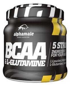 ALPHA MALE - BCAA + L GLUTAMINE - 500g  Nie osiągnąłeś jeszcze pełni swoich możliwości? Nie przejmuj się! BCAA & L-Glutamine firmy Alpha Male zrobi to za Ciebie!  Doskonała mieszanka aminokwasów rozgałęzionych, w skład których wchodzą leucyna, izoleucyna, walina wprowadzą Twoje mięśnie w wysoki stan anaboliczny, jednocześnie hamując katabolizm