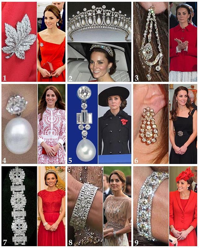 A recap of The Duchess's borrowed jewellery from the Queen's collection this year.  1: The maple leaf brooch was given to Queen Elizabeth (future Queen Mum) in 1939 by her husband ahead of their Canadian tour.  2: The Cambridge Lover's Knot Tiara was designed by Queen Mary who was inspired by a tiara owned by her grandmother, Augusta, Duchess of Cambridge. This became one of Diana's signature tiaras. 3: What seems to be a long term loan from the Queen, these diamond chandelier earrings have…