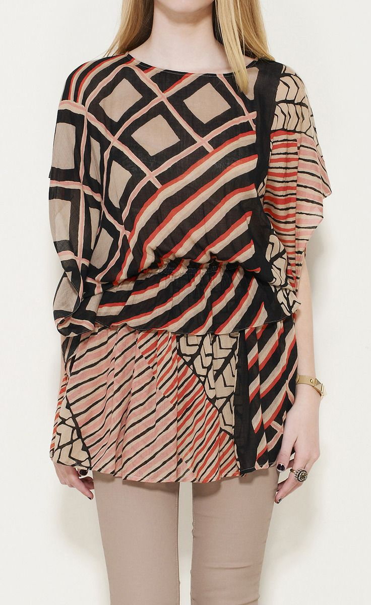 Thakoon Addition Red, Beige And Black Multicolored Dress