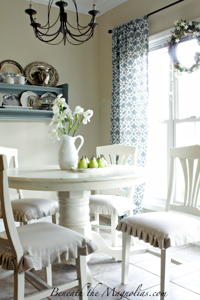 Beautiful kitchen, and beautiful seat-cushions! - 86 Best Images About Chair Skirts On Pinterest Chair Slipcovers