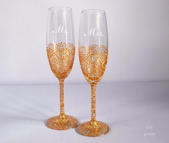 Personalized Gold Wedding Flutes Engraving Gles Champagne Toasting Bohemian Party Decor Boho Chic