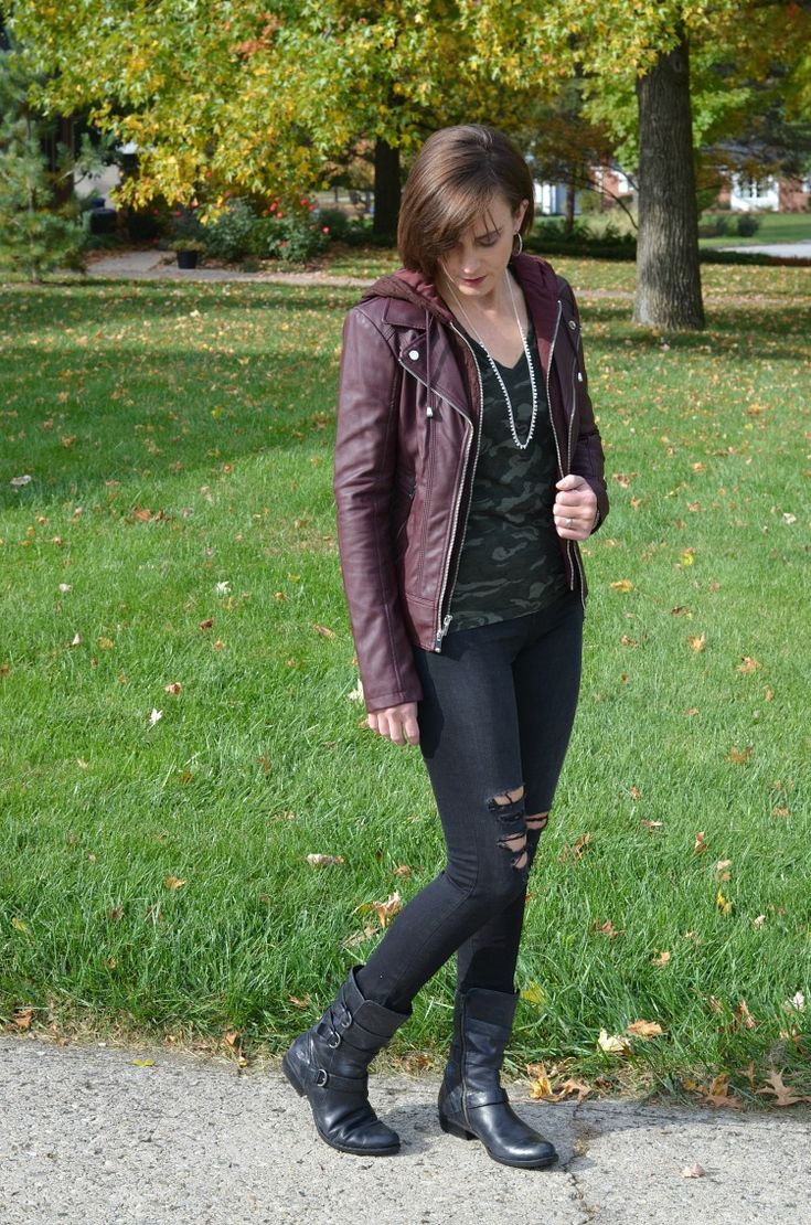 The Perfect Moto Jacket for Fall - burgundy moto jacket with camo shirt and distressed black skinny jeans