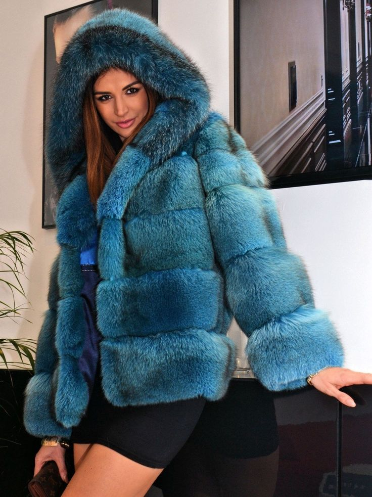 Ocean Blue Royal Saga Fox Fur Jacket Like Coat Silver Sable Mink Chinchilla Lynx | eBay