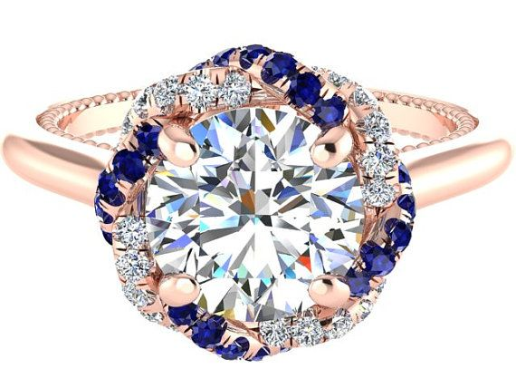 Rose Gold Bridal Wedding Ring, Fb Moissanite Ring, Braided Halo Ring, Blue Sapphires And Diamonds Ring, Designed Copyrighted By Bridal Rings