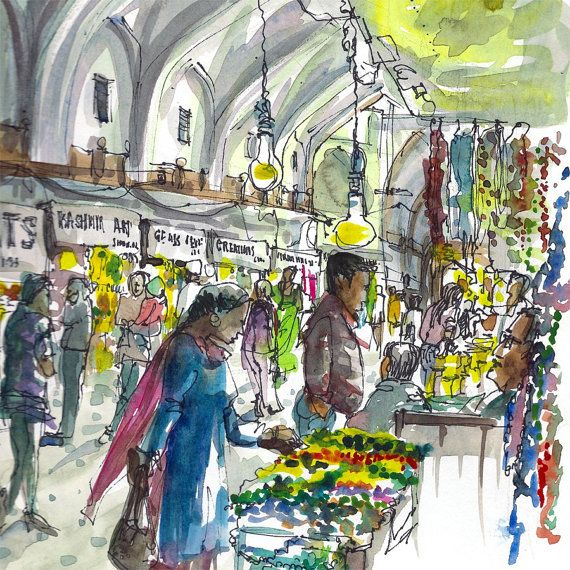 Indian bazaar delhi india watercolor sketch inch print from an original sketch