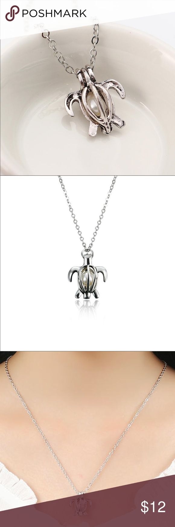 Retro Pearl Openable Turtle Pendant Chain Necklace Package Includes: 1 x Necklace  Style: Vintage Type: Necklace Material: Zinc Alloy, Artificial Pearl Color: Silver Chain Length: About 16 inches  New without tag! Jewelry Necklaces