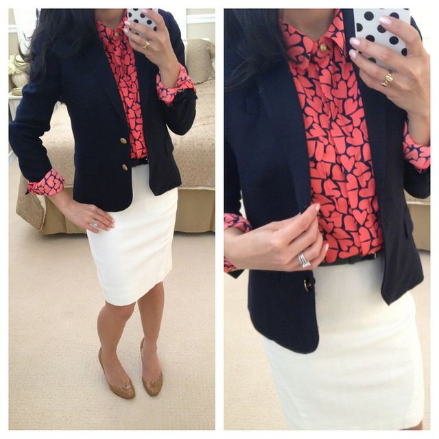 Shirt: Forever 21 - I absolutely love this red and navy heart long-sleeve shirt Blazer: J.Crew in navy Skirt: Ann Taylor Shoes: Christian Louboutin