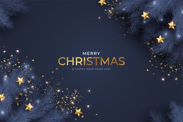 Download Blue And Golden Merry Christmas And New Year Card With Realistic Decoration For Free Merry Christmas Card Greetings Modern Christmas Cards Christmas Card Template