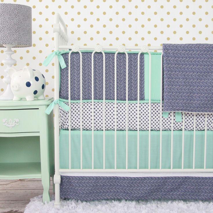 Caden Lane Baby Bedding - Mint and Navy Chevron Baby Bedding Swatch Kit, $5.00 (http://cadenlane.com/mint-and-navy-chevron-baby-bedding-swatch-kit/)