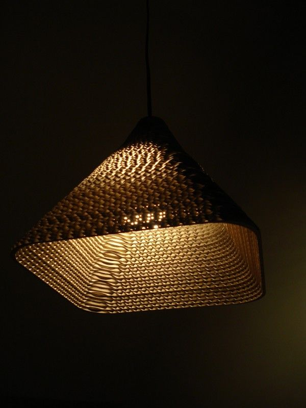 RE-BORN pendant lamp made from recycled cardboard