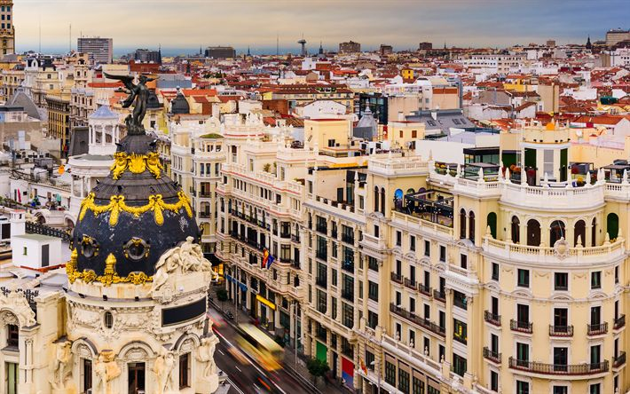 Download wallpapers Madrid, 4k, old town, beautiful city, Spain