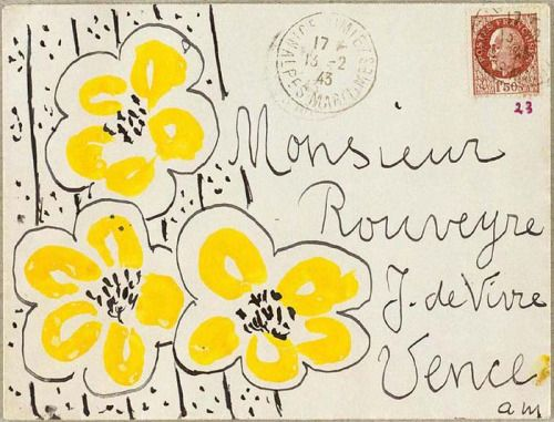 design-is-fine:  Henri Matisse sending letters to André Rouveyre, 1943.  The correspondence stands out in its extent and frequency – for long periods they wrote to each other daily, sometimes several times a day – and in its abundance of drawings, sketches and decorated envelopes by Matisse. More: henri-matisse.net