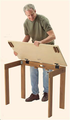 "INSTANT SURFACE - Small Shop Solutions - The Woodworker's Shop - American Woodworker (Folding / collapsible table). [***Pinner Claire Sew-Incidentally http://www.pinterest.com/clairesews/ says: ""I reckon that the the height/size could be adapted to make a great sewing / quilting / fabric  cutting table."" ***]"