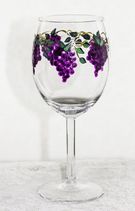 Hand Painted Wine Glass Grapes pair 987
