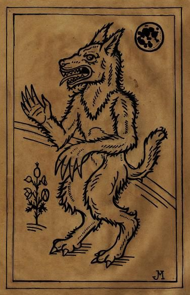 """nocturnal-slayer: """" A medieval woodcut styled illustration of a werewolf done for the Paranormal Museum in Asbury Park, NJ. """""""
