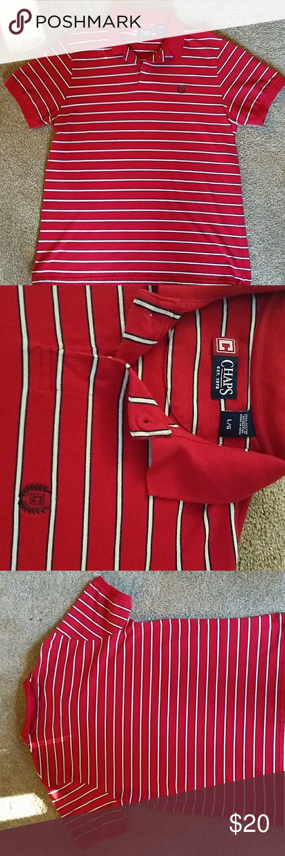 Chaps Ralph Lauren Polo Shirt Red with White and Black Stripes Like New Excellent Condition Very Cool Ralph Lauren Shirts Polos