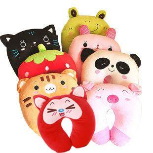 nueva moda de dibujos animados lindo gato tigre de cerdo oso patrón en forma de u de viaje cuello almohada de coches almohada casa venta al por mayor y al por menor